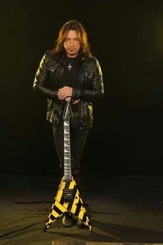 Michael Sweet of Stryper with the guitar used to record No More Hell To Pay