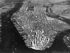 Aerial view of New York City, looking north, on December 16, 1951. (Courtesy NYC Municipal Archives) #