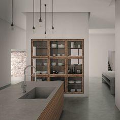 plan-de-travail-ceramique-aspect-beton-ilot-rangements-bois-vaisselier-mural-bois-verre