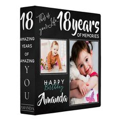 Shop Chalkboard 18 Years 3 Photo Birthday Binder created by MyPaperlove. Personalize it with photos & text or purchase as is! Kids Photo Album, Memories Photo Album, Best Photo Albums, Photo Album Scrapbooking, Scrapbook Albums, Digital Scrapbooking, Cute Scrapbooks, Multi Photo, Birthday Photos