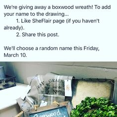 Head over to SheFlair's Facebook page to enter drawing for boxwood wreath!fb.me/sheflairspaces