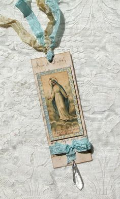 SCT Shabby Vintage Style Virgin Mary Religious Altered Art Bookmark