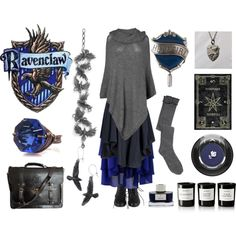 Ravenclaw House by maggiehemlock on Polyvore featuring Phase Eight, Vivienne Westwood Anglomania, Chicwish, Lancôme, Byredo and Faber-Castell