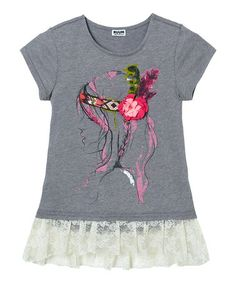 Look what I found on #zulily! Gray Hipster & Lace Tee - Girls by RUUM #zulilyfinds