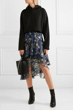 Preen by Thornton Bregazzi - Laboni Floral-print Devoré Silk-blend Chiffon Midi Skirt - Navy - x small