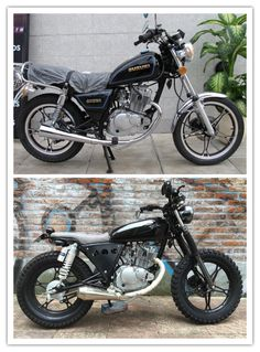 Extensive modification to this Suzuki GN 125 result In a great looking tracker 👍 Bobber Bikes, Cafe Racer Motorcycle, Motorcycle Style, Motorcycle Memes, Cafe Racers, Suzuki Cafe Racer, Honda 125, Moto Car, Moto Bike