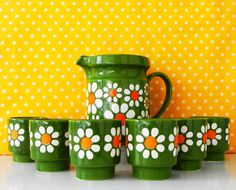 Retro tumblers set with pitcher green by Retromania1331 on Etsy, £75.00