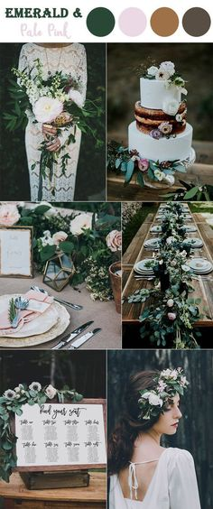 emerald green and pale pink woodland fall wedding colors
