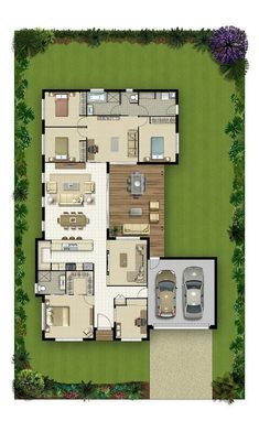 Floor Plan Friday: 4 bedroom home with study nook and tripl House Layout Plans, New House Plans, Dream House Plans, Modern House Plans, Small House Plans, House Floor Plans, Bedroom Floor Plans, Layouts Casa, House Layouts