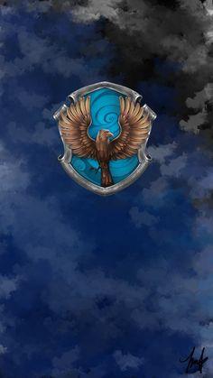 Lock Screen Wallpaper, Iphone Wallpaper, Hogwarts Crest, Harry Potter Wallpaper, Harry Potter Fandom, Crests, Ravenclaw, Tumblr, Painting