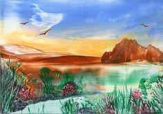 desert lake - encaustic art painting