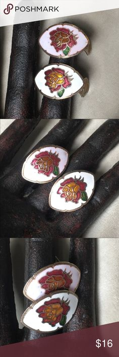 """Vintage Rose Cloisonné Clip-on Earrings Whimsical cloisonné rose earrings. Reminds me of Beauty and the Beast. Measures 1"""" X .75"""". Pre-owned vintage, surface scratches, a dent on one end and some color bleeding. Vintage Jewelry Earrings"""
