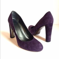 Stuart Weitzman Heels Classic suede leather purple chunky heels. Scuffs on heel and toe with wear on bottoms. Stunning and sturdy. No trades. Generous discount with bundle. Stuart Weitzman Shoes Platforms