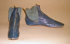 early 19th century blue leather walking boots. Probably British - in the Metropolitan Museum of Art costume collections.