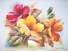 Fabric Painting, Painting & Drawing, Watercolor Paintings, China Painting, Arte Floral, Pictures To Paint, Vintage Flowers, Watercolor Flowers, Painting Inspiration