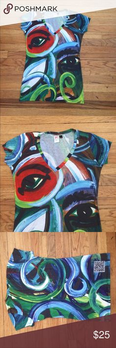 Painting V-Neck Shirt purchased from an organization that supports African artisans by putting their art on clothing Tops Tees - Short Sleeve