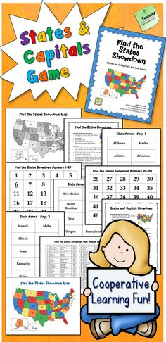 Can your students locate all 50 states on a map? Do they know the state capitals and abbreviations? If not, check out Find the States Showdown! It's a fun cooperative learning review game that includes directions, maps, playing materials, and an answer key. $