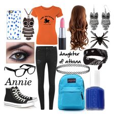"""""""Daughter of Athena"""" by annietiger3 ❤ liked on Polyvore featuring Arizona, rag & bone, Decree, Converse, JanSport, Essie, claire's, Ray-Ban and percyjackson"""