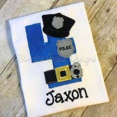 Police birthday shirt. Police officer birthday. Custom birthday shirt. Personalized birthday shirt. Boy birthday. Applique birthday shirt. by SimplieGirlieDesigns on Etsy