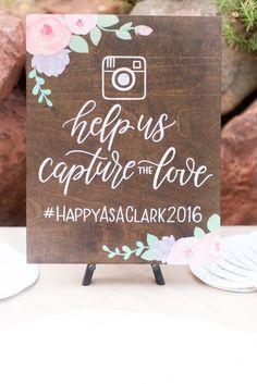 Hashtag Social Media Help Us Capture The Love - Rustic Wooden Wedding Sign