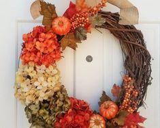 Fall Wreath Fall Wreaths Fall Home Decor Fall Hydrangea Fall Mantle Decor, Fall Home Decor, Autumn Home, Autumn Wreaths For Front Door, Fall Wreaths, Ribbon Wreaths, Tulle Wreath, Floral Wreaths, Burlap Wreaths