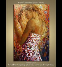 Summer Dress Original Palette Knife painting on canvas by Nizamas