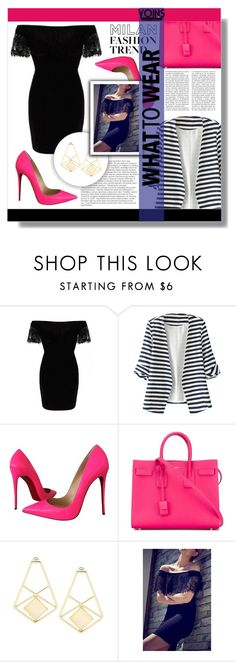 """YOINS CONTEST"" by rabbitbeery ❤ liked on Polyvore featuring WithChic, Christian Louboutin, Balmain, Yves Saint Laurent and yoins"