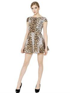 Leopard Printed Taffeta Dress