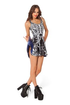 Bone Machine Vs Galaxy Blue Inside Out Dress - LIMITED (CAPPED PRE SAL › Black Milk Clothing