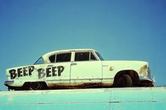 Beep Beep  Vintage White Car  Coeur d' Alene by ScarolaPhotography
