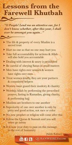 The Final Sermon of Prophet Muhammad ﷺ Islam Beliefs, Islamic Teachings, Islam Religion, Islam Muslim, Islam Quran, Islam Hadith, Islamic Dua, Quran Verses, Quran Quotes