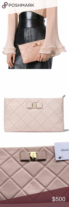 Salvatore Ferragamo Vara Quilted Leather CLUTCH New bisque nude/powder pink nappa leather 'Vara' quilted clutch from Salvatore Ferragamo featuring a top zip fastening, a bow on the front and gold-tone hardware. Nappa Leather 100% Made in Italy size: 11 x 6 inches  (26 x 16 cm) Salvatore Ferragamo Bags Clutches & Wristlets