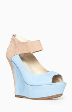 Two Tone Ankle Strap Wedges