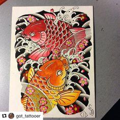 Koi Dragon Tattoo, Koi Fish Tattoo, Fish Tattoos, Tattoo Sketches, Tattoo Drawings, Oriental Tattoo, Best Sleeve Tattoos, Irezumi, Dog Tattoos