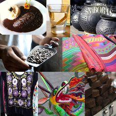 8 cosas que debes comprar en tu próxima visita a Oaxaca: mezcal, mole, barro negro, café de pluma, tejidos de cintura, huipil, alebrijes y chocolate.