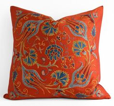 Hand Embroidered Suzani Pillow Cover,throw pillow covers coral,throw pillows boho,throw pillows,decorative throw pillows on Etsy Colorful Throw Pillows, Throw Pillows Bed, Throw Pillow Covers, Decorative Throw Pillows, Gold Pillows, Burlap Pillows, Cricut, Etsy, Rustic Decor