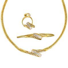 18k Yellow Gold Diamond Ring, Necklace, Bracelet Set #jewelry