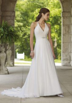 Halter-Chiffon-Wedding-Dress-Bridal-Gown-Custom-Size-2-4-6-8-10-12-14-16-18-20