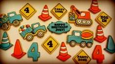 Decorated construction cookies by Lucky Penny