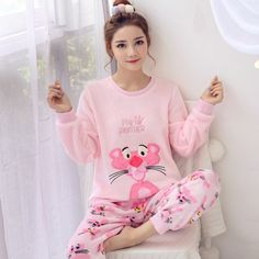 Winter Women's Pajamas Set Women Long Sleeve Sleepwear Flannel Warm Lovely Cartoon Tops + Pants Sleep Pyjama Female Winter Women's Pajamas Set Women Long Sleeve Sleepwear Flannel Warm Lovely Cartoon Tops + Pants Sleep Pyjama Female Cute Pajamas, Flannel Pajamas, Night Suit For Girl, Pijamas Women, Womens Pyjama Sets, Pajama Outfits, Cardigans For Women, Pajama Set, Stylish Outfits