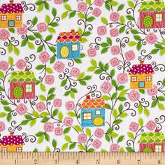 "Sweet Tweet Sunshine Birdhouse White - Designed by Mitzi Powers for Benartex, this cotton print is perfect for quilting, apparel and home decor accents.  Colors include white, green, pink, yellow, blue, orange and red. 100% Cotton; 44"" wide"