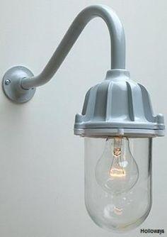163 105 Cast Iron Well Glass Lights Swan Neck Wall Lights