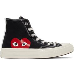 Comme des Garçons Play Black Converse Edition High-Top Sneakers ($115) ❤ liked on Polyvore featuring shoes, sneakers, black, black canvas sneakers, black trainers, lace up high top sneakers, lace up sneakers and high top shoes