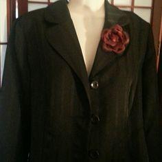 Nwt black blazer w wine colored flower pin sz 10 Nwt Nice blazer by pride and joy. Black w subtle stripe. Sz 10 pride and joy Jackets & Coats Blazers