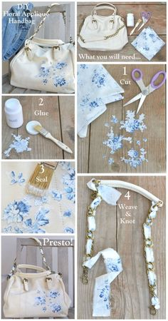 What you need:  -Purse with chain strap  -Glue (we used Mod Podge)  -Scissors  -Paint brush (or sponge brush)  -Floral Fabric (we used our Treasures by Shabby Chic® fabric from our newest collection; Chambray Rose)      Cut around the floral patterns.Paint glue to the back-side of the fabric then paste onto the purse. Paint glue to the top of the fabric to seal it in.Cut a 1 inch strip of fabric the length of your shoulder strap. Weave in and out of the chain and secure with a knot at both…