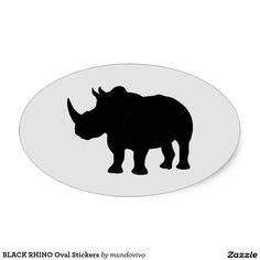 BLACK RHINO Oval Stickers