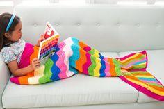RAINBOW - Kids Mermaid Crochet Tail Blanket, Mermaid Tail Kids, Crochet Mermaid Blanket, Crochet Blanket, Knit Blanket, Kids Blanket