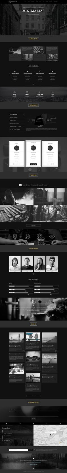 #Minimalize is a Fully responsive, flexible, and #minimal one-page portfolio WordPress #Theme. Comes with dark and light skins.. Use it to showcase your brand into a single page, to create product promotion page, landing page etc...