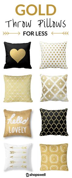 gold touch to your living space with one of these 20 chic, frugal, and fab throw pillows. Shop the collection now!Bring the gold touch to your living space with one of these 20 chic, frugal, and fab throw pillows. Shop the collection now! Living Room Colors, Living Room Decor, Living Spaces, Bedroom Decor, Bedroom Ideas, Living Rooms, Decor Room, Bedroom Colors, Wall Decor