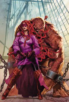 Marvel 1602- Medusa & Ben Grimm by Gabriele Dell'Otto